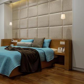 160平现代简约装修床头软包设计