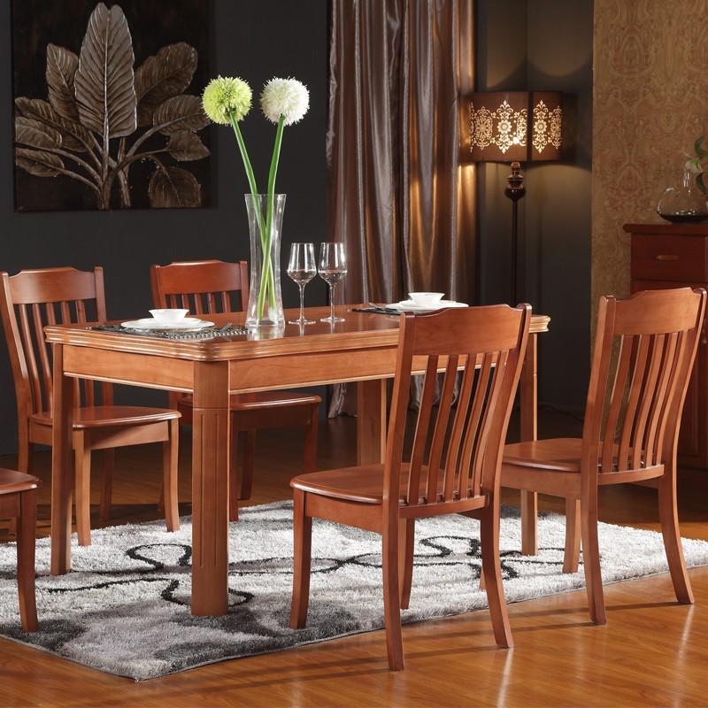 龙飞越组装框架结构橡胶木拆装长方形现代中式餐桌