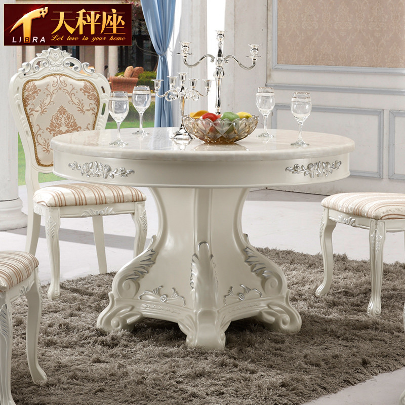 天秤座旋转组装大理石框架结构橡胶木移动抽象图案圆形欧式餐桌