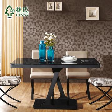 林氏图片色金属散装钢玻璃框架结构移动长方形简约现代餐桌
