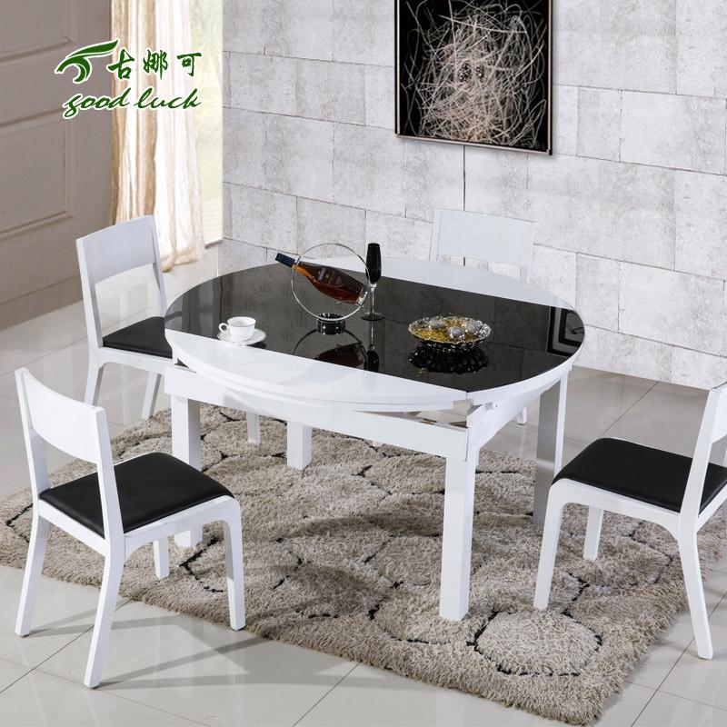 古娜可散装玻璃支架结构橡木圆形简约现代餐桌