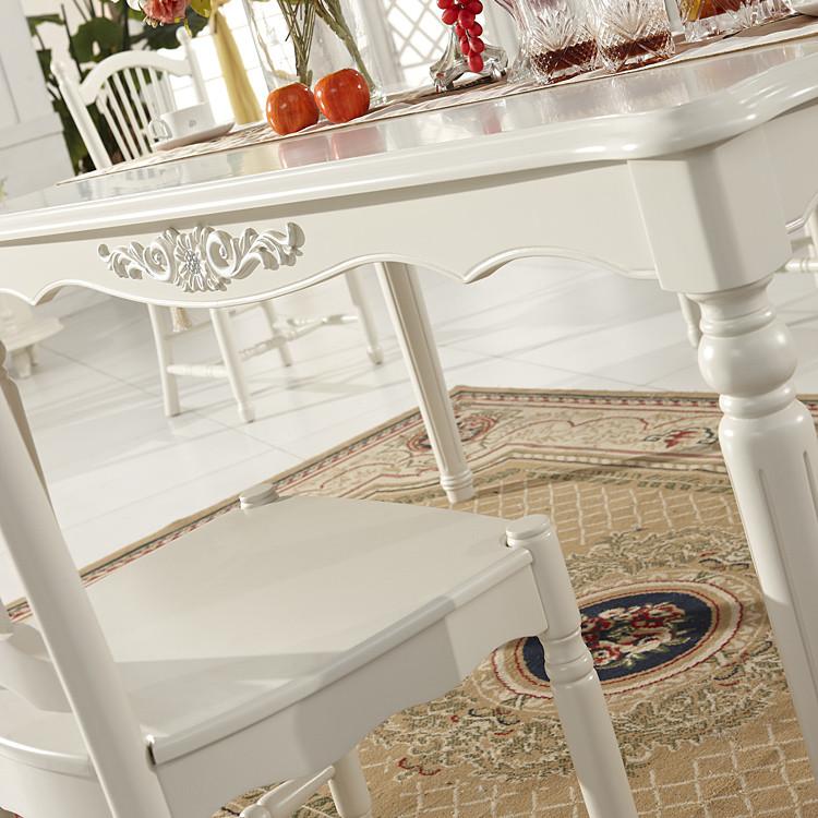木澜之春象牙白组装支架结构橡木移动植物花卉长方形田园餐桌