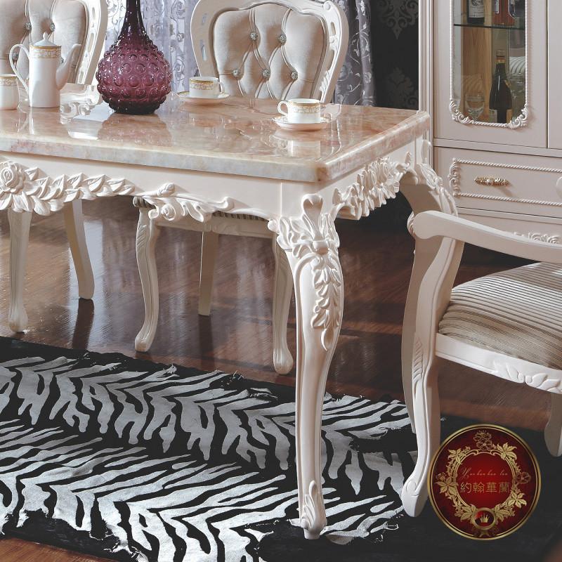 约翰华兰旋转大理石橡木长方形欧式餐桌