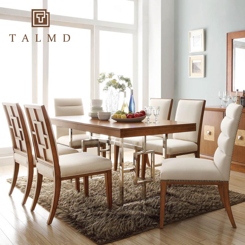 图迈高端定制组装支架结构桦木抽象图案正方形现代中式餐桌