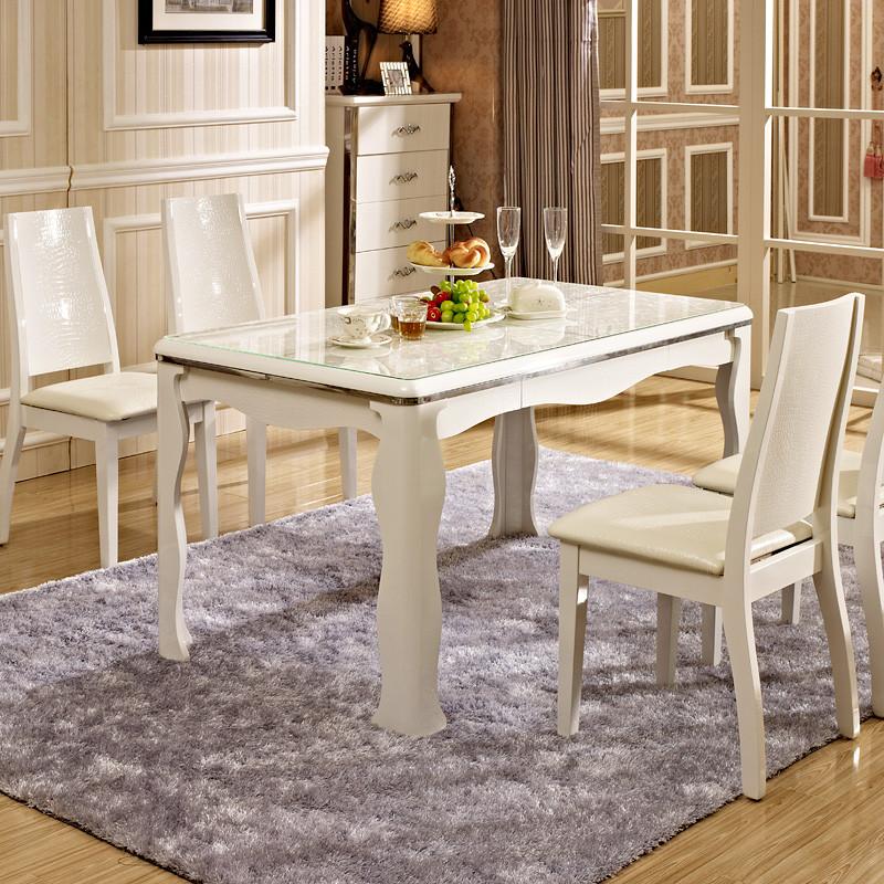 德邦尚品单餐桌(亮光烤漆)组装玻璃框架结构橡胶木艺术长方形简约现代餐桌