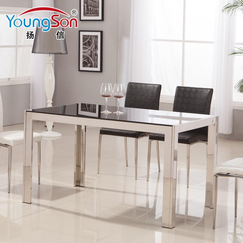 扬信金属组装不锈钢玻璃框架结构移动艺术长方形简约现代餐桌