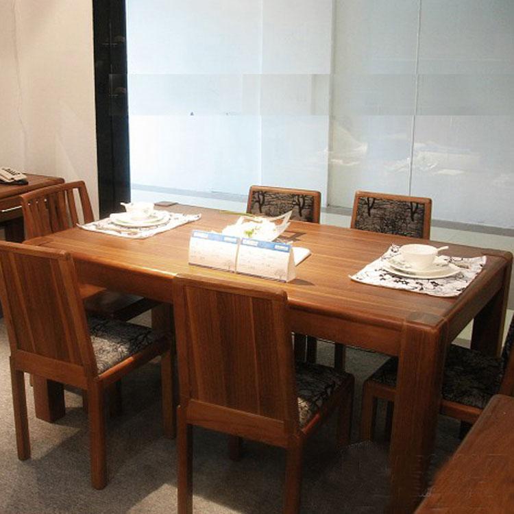 康诺威浅胡桃散装人造板支架结构核桃木拆装长方形简约现代餐桌