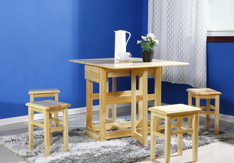 深度美整装框架结构松木折叠抽象图案长方形田园餐桌