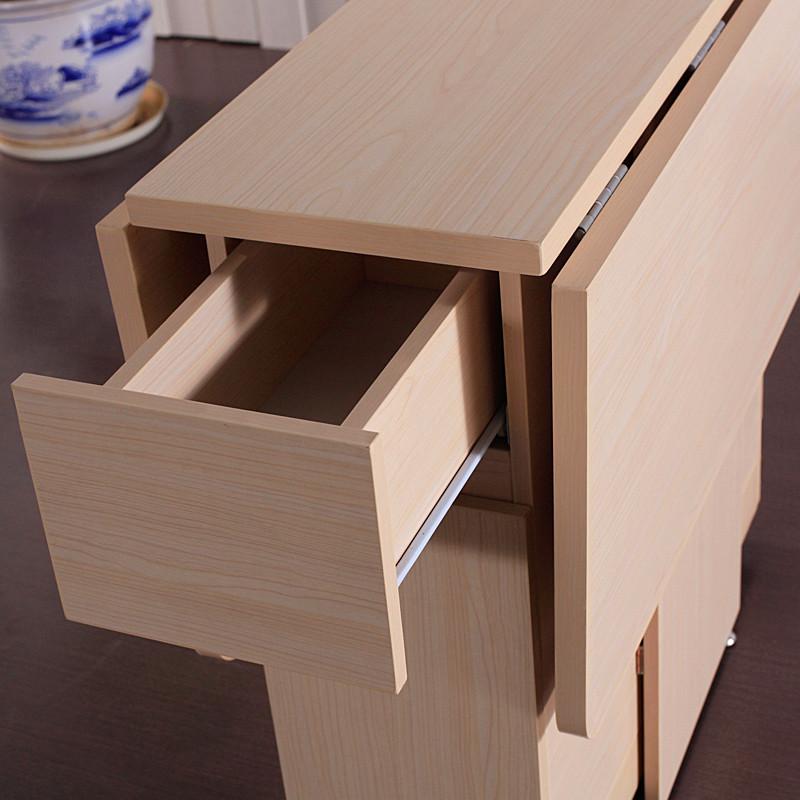格杰白樱桃色人造板折叠整装刨花板三聚氰胺板支架结构移动长方形北欧宜家餐桌