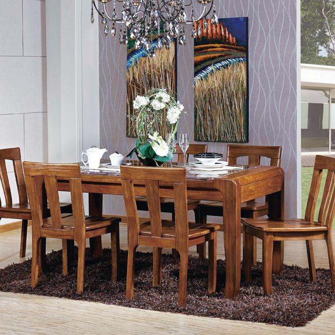 好战友大理石支架结构楠木多功能长方形现代中式餐桌