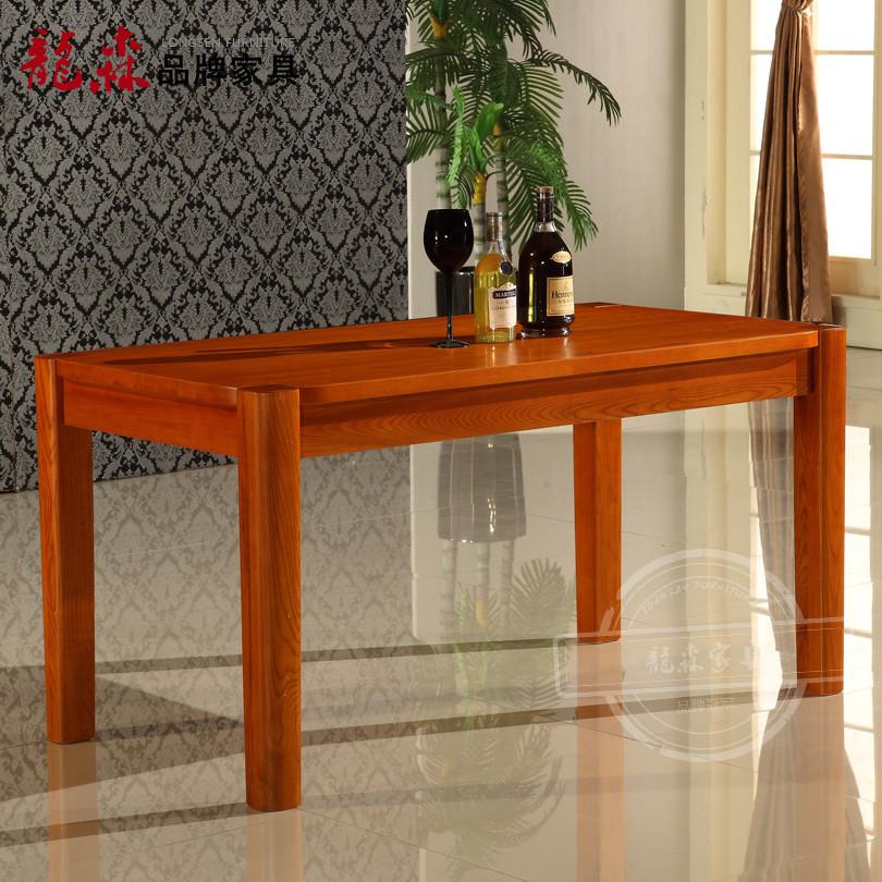 唯克美家一桌六椅一桌四椅散装框架结构水曲柳拆装长方形田园餐桌