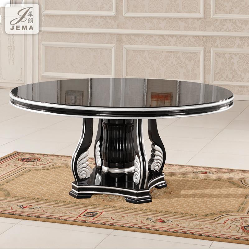 卓朗组装框架结构橡木圆形新古典餐桌