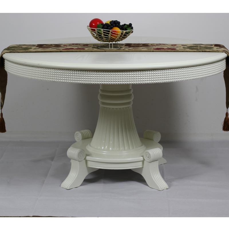 皇海盛世组装框架结构橡木拆装圆形欧式餐桌