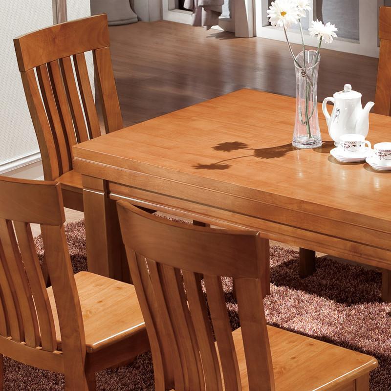 爱上家一桌六椅一桌四椅组装框架结构橡胶木移动长方形现代中式餐桌