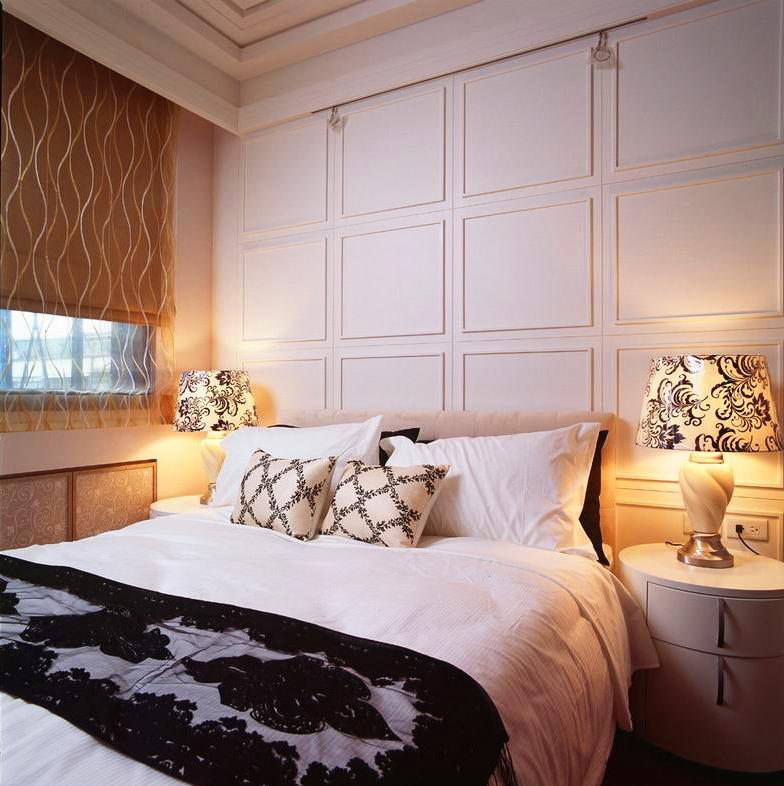 100平三居室装修卧室背景墙图片
