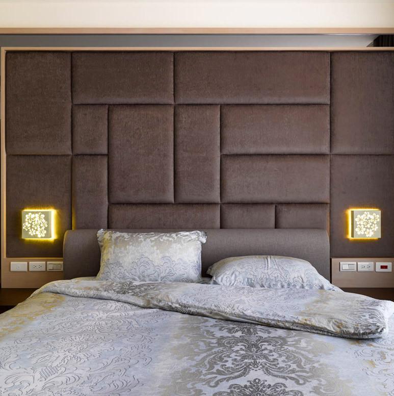 现代简约四房设计卧室背景墙图片