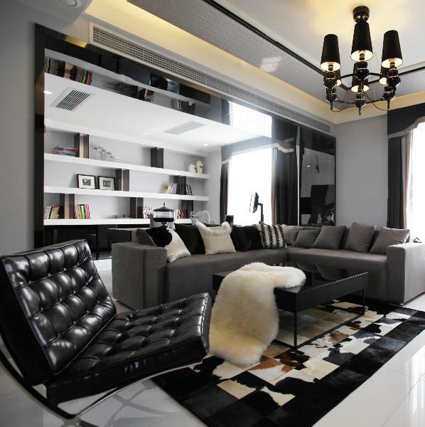 现代简约黑白灰装修客厅效果图