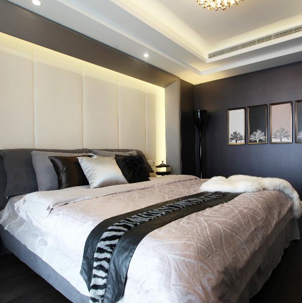 现代简约黑白灰装修卧室搭配图