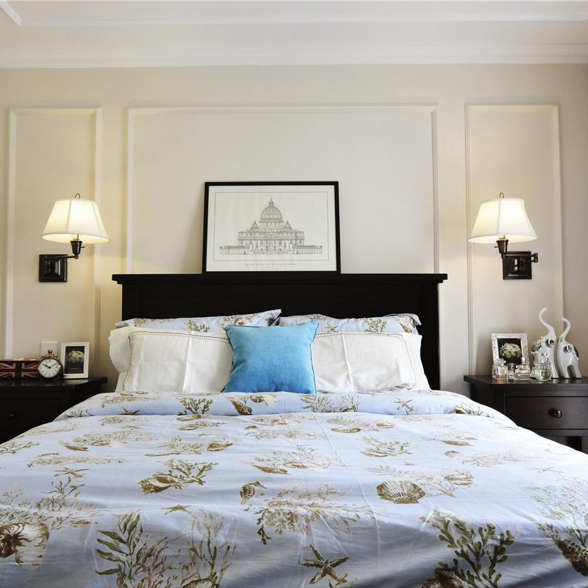 简约美式三居装修卧室背景墙图片