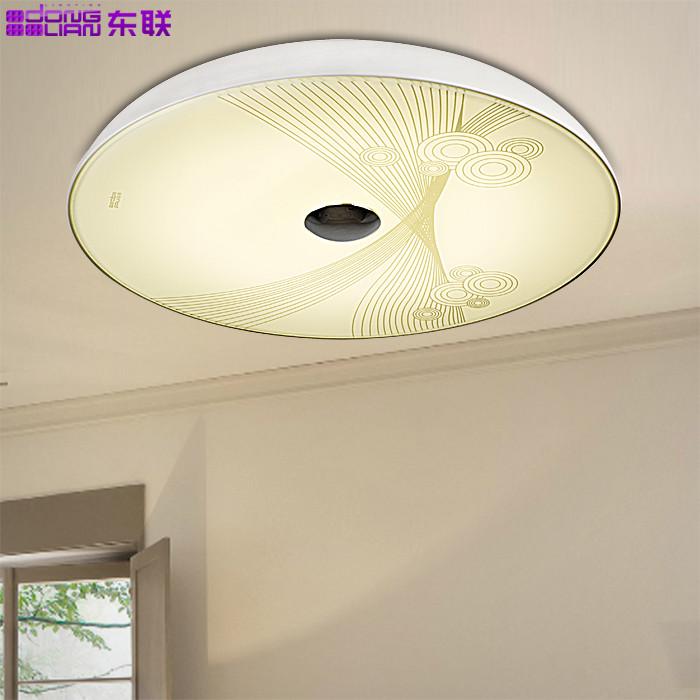 东联玻璃铁简约现代圆形暖光吸顶灯