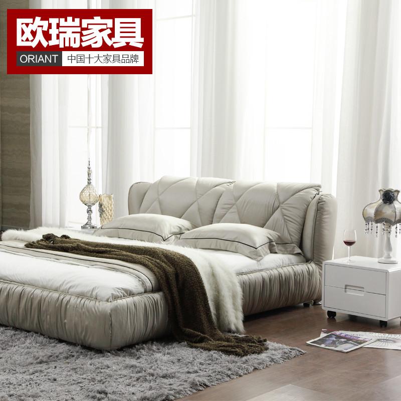 欧瑞家具布艺床人造板褶皱组装式架子床复合面料方形简约现代床
