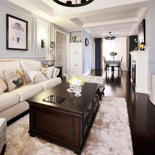 美式两居室装修客餐厅全景图