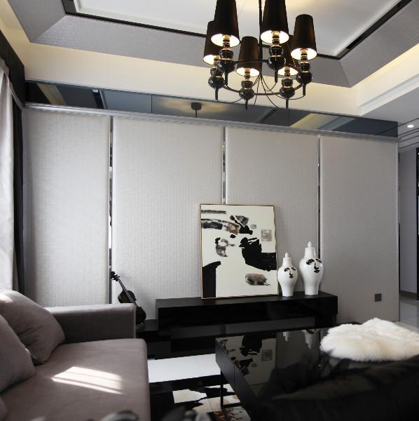 现代简约黑白灰装修电视背景墙图片