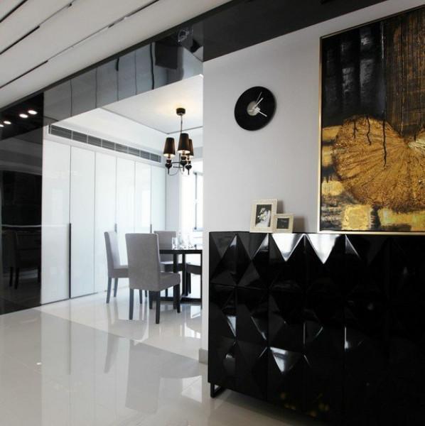 现代简约黑白灰装修玄关柜设计