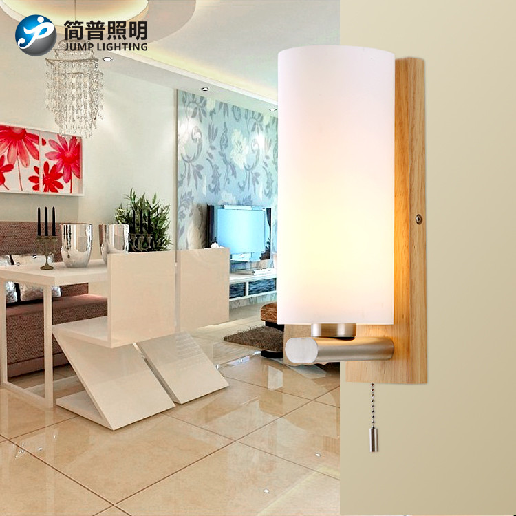 简普玻璃木简约现代白炽灯节能灯壁灯