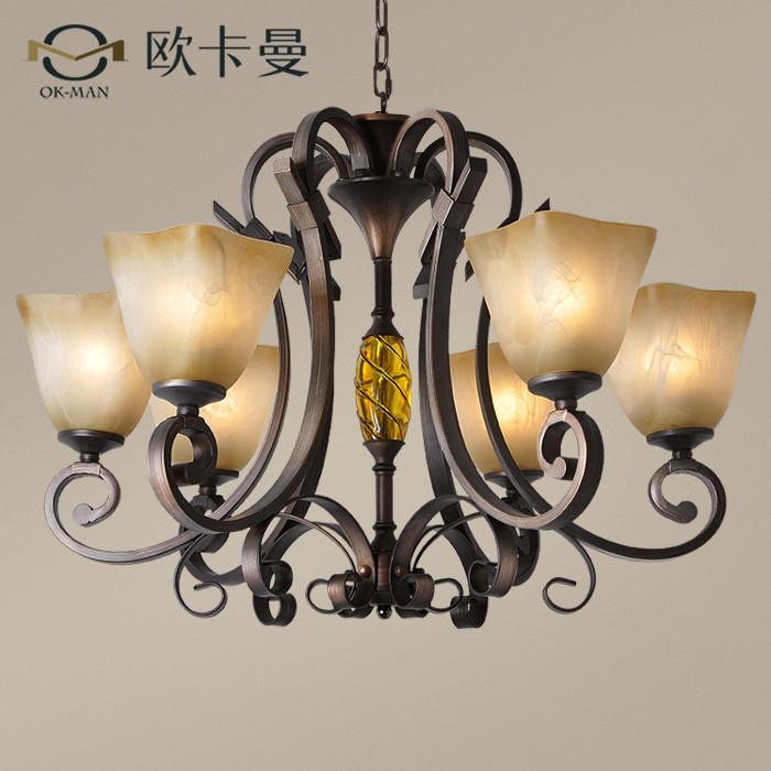 欧卡曼玻璃铁树脂美式乡村热弯白炽灯节能灯-吊灯