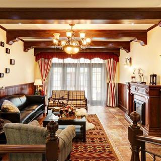 大户型美式乡村装修客厅吊顶设计