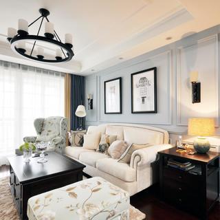 美式两居室装修沙发背景墙图片