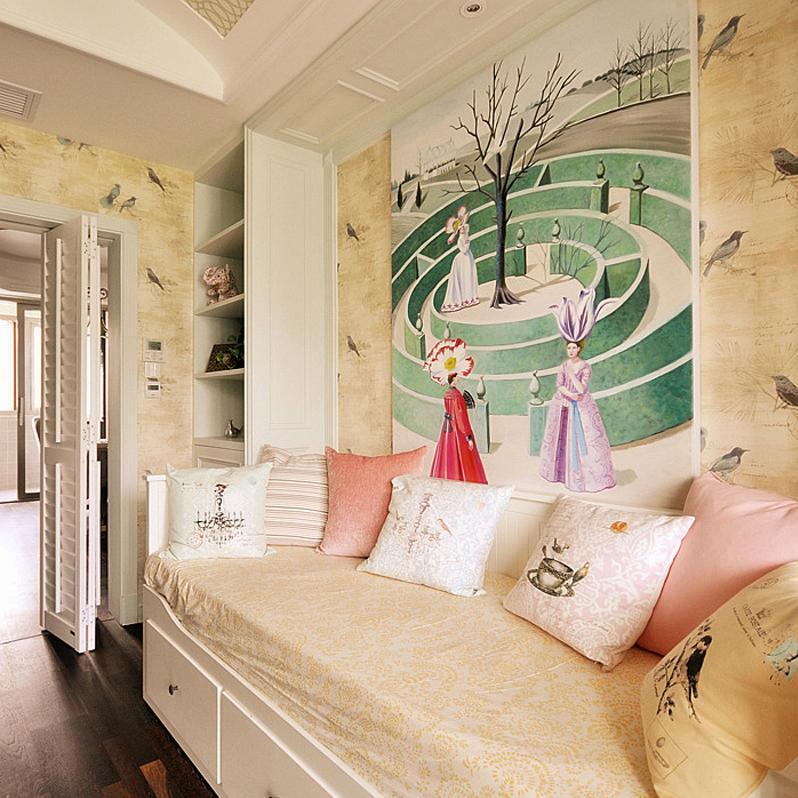 美式混搭风格三居装修沙发床设计