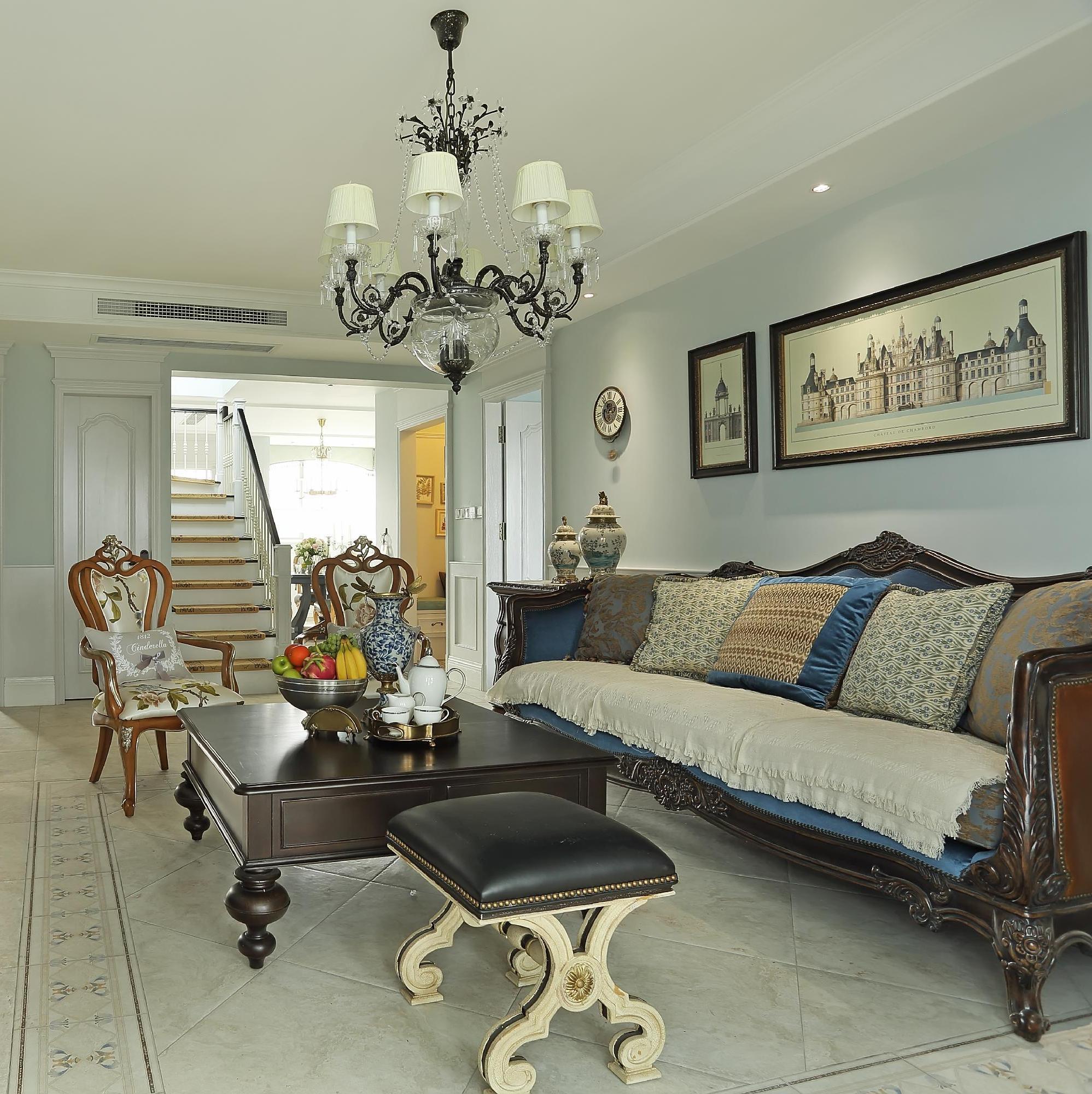 大户型美式跃层装修客厅设计图