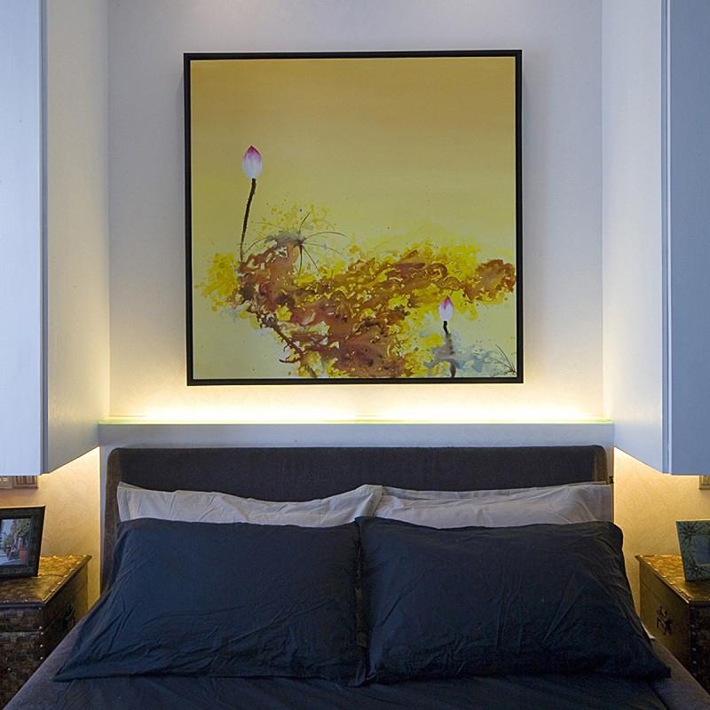 三居室现代中式家床头背景墙图片