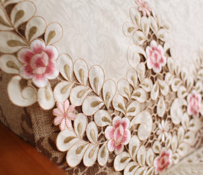 唯米实物拍摄布植物花卉沙发靠背巾组合沙发欧式防尘罩