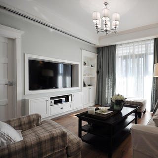 现代美式四居室装修电视墙设计
