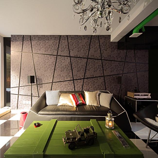 130平Loft装修沙发背景墙图片
