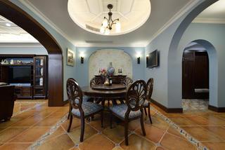 复古典雅美式别墅装修餐厅背景墙图片