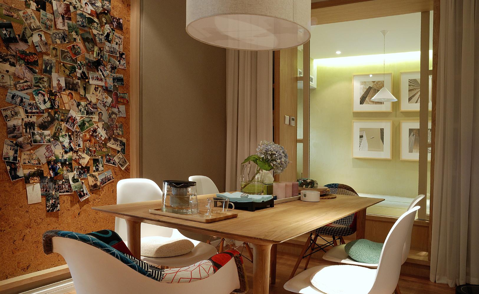 70平两居北欧风装修餐桌图片