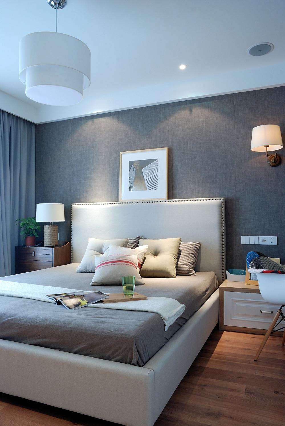 70平两居北欧风装修卧室背景墙图片