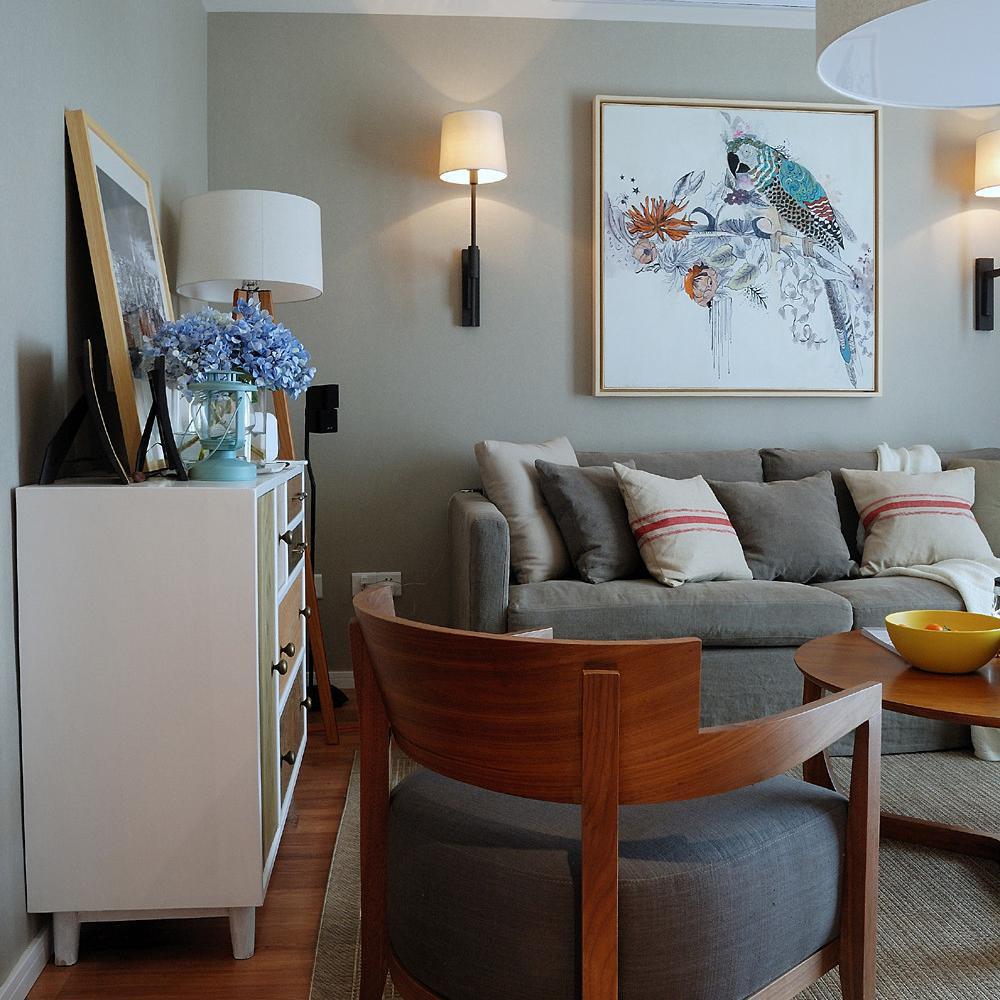 70平两居北欧风装修沙发背景墙图片