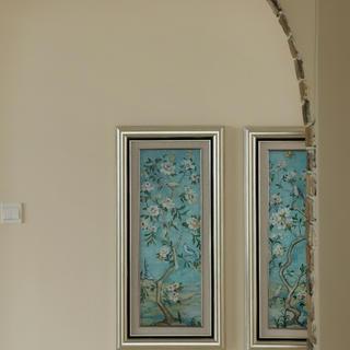 140平美式混搭三居装修玄关背景墙