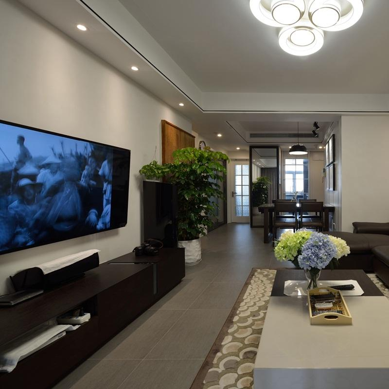 120平现代简约装修电视背景墙图片