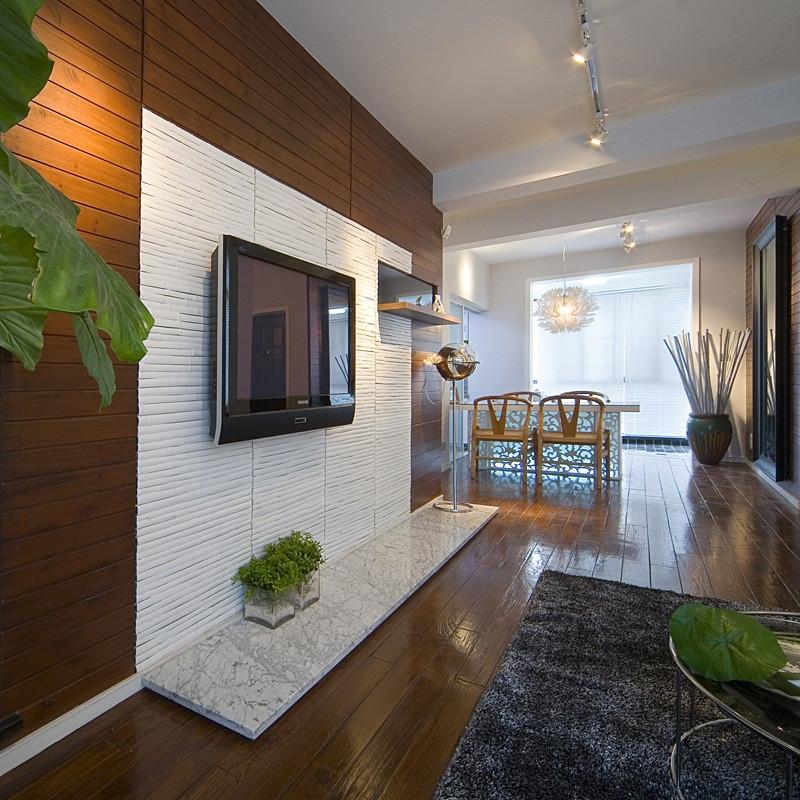 三居室现代中式家电视背景墙设计