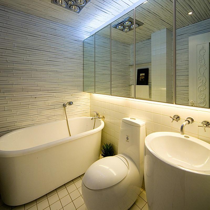 三居室现代中式家卫生间设计图