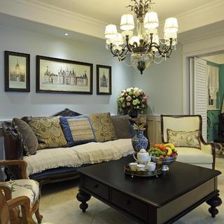 大户型美式跃层装修沙发背景墙图片