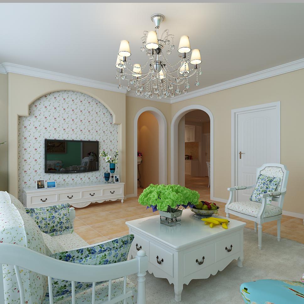 110平田园三居室装修客厅效果图