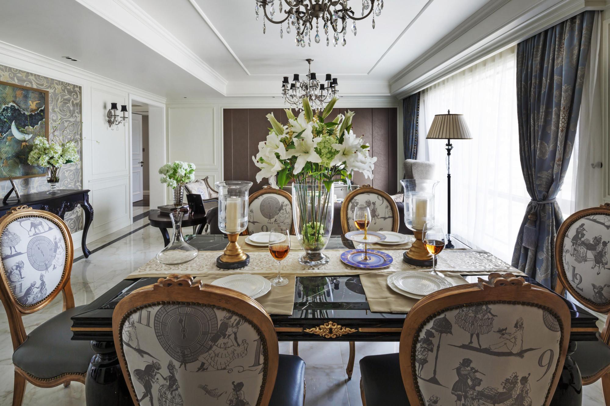 140平欧式装修餐桌椅图片