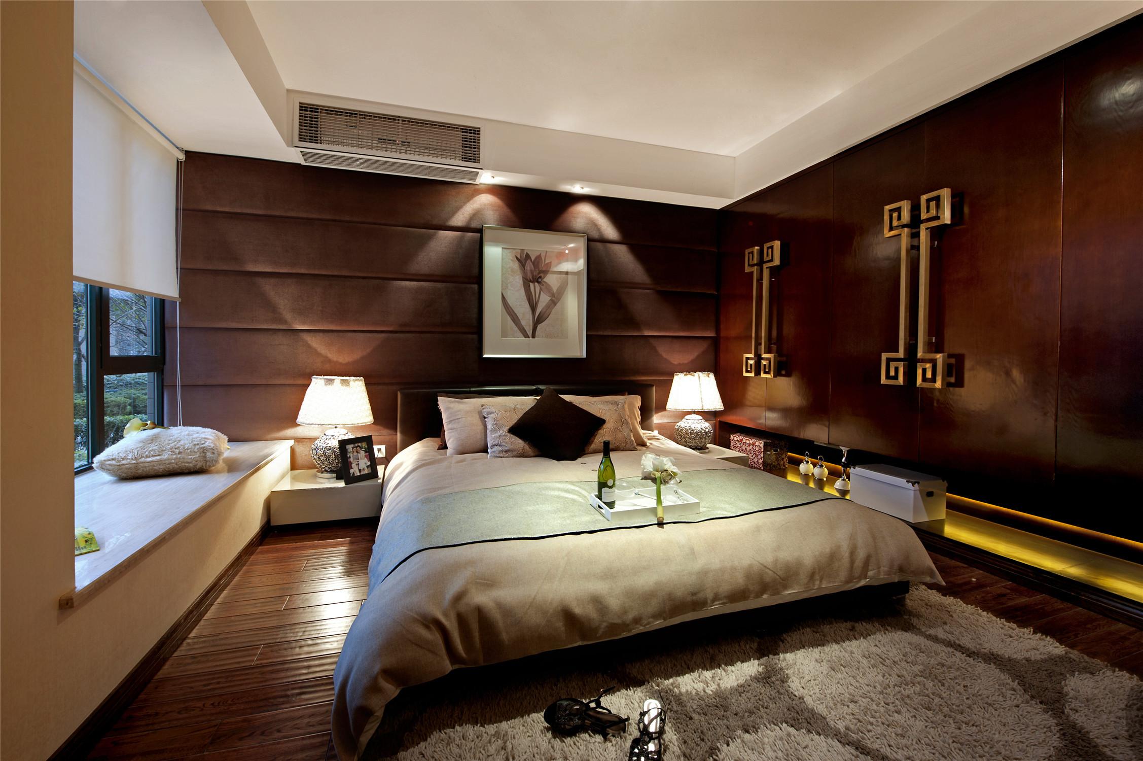 新中式风格样板间装修床头软包图片